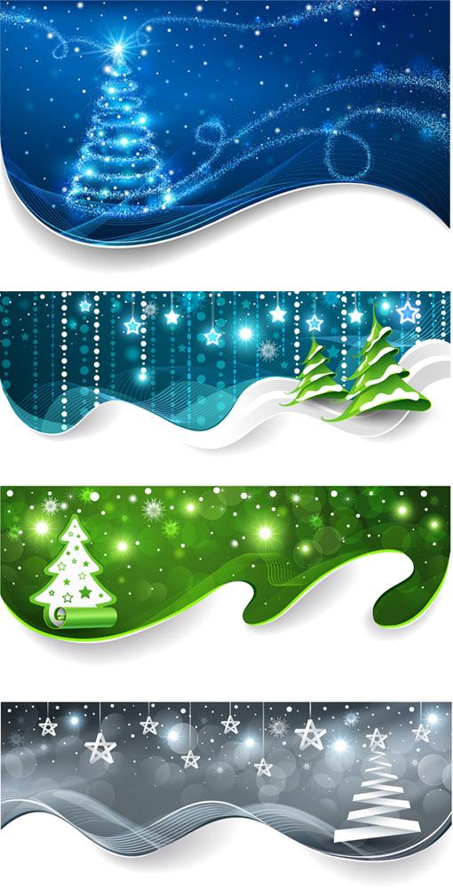 圣诞节炫彩卡片矢量素材