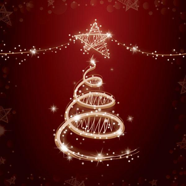 绚丽灯光圣诞树矢量素材