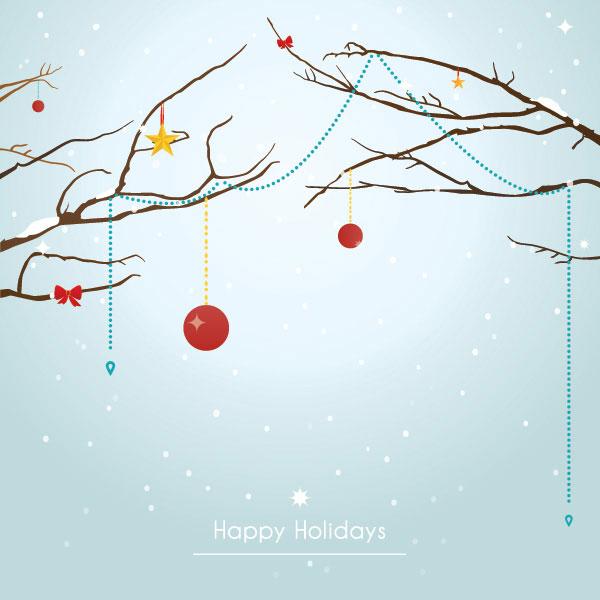 冬季圣诞背景贺卡矢量素材