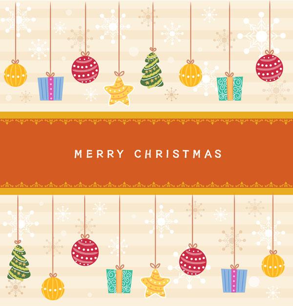 童趣圣诞挂饰背景矢量素材