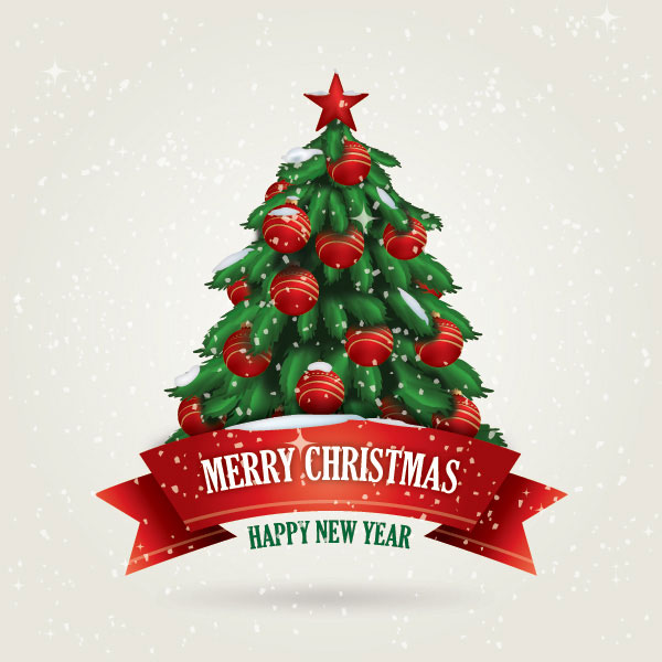 精美圣诞树贺卡矢量素材