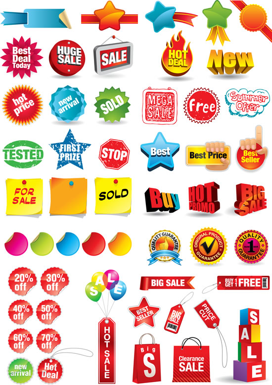 商场销售标签矢量素材