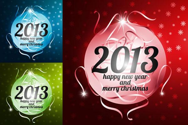 2013新年彩球矢量素材