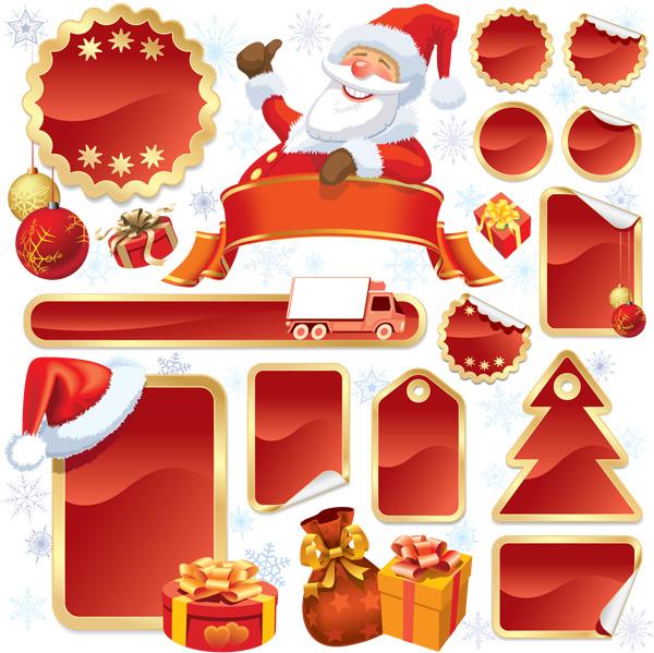 圣诞老人标签矢量素材