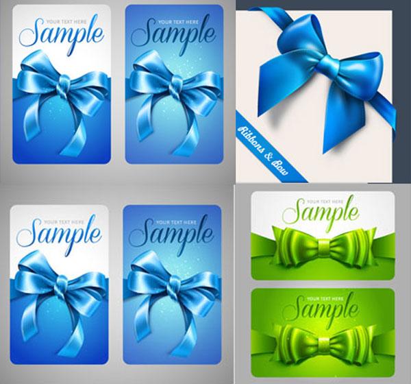 蓝色蝴蝶结卡片矢量素材