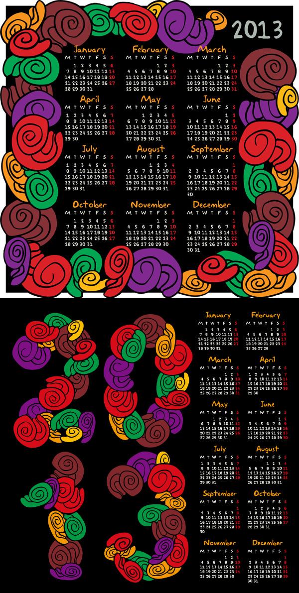 2013抽象花朵年历矢量素材