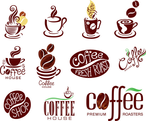 精美咖啡主题标志矢量素材