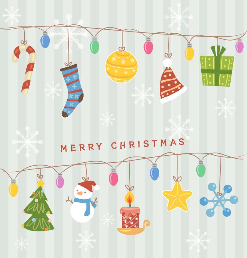 卡通圣诞挂饰矢量素材