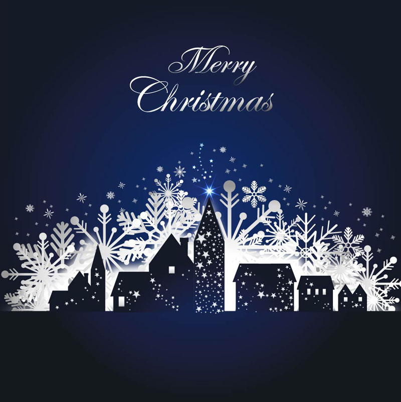 宁静圣诞雪夜矢量素材
