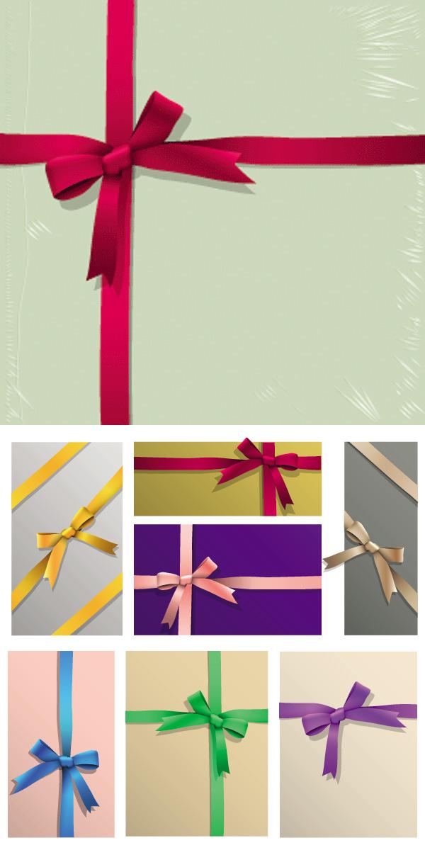 礼品包装彩带矢量素材