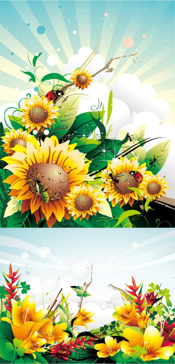 绚烂抽象花朵矢量素材