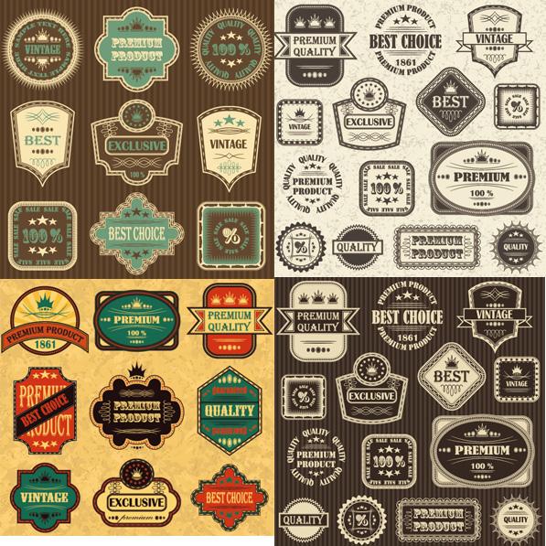 复古标贴标签矢量素材