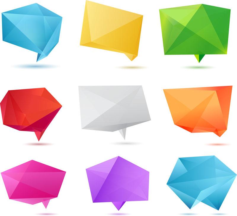 水晶折纸对话框矢量素材