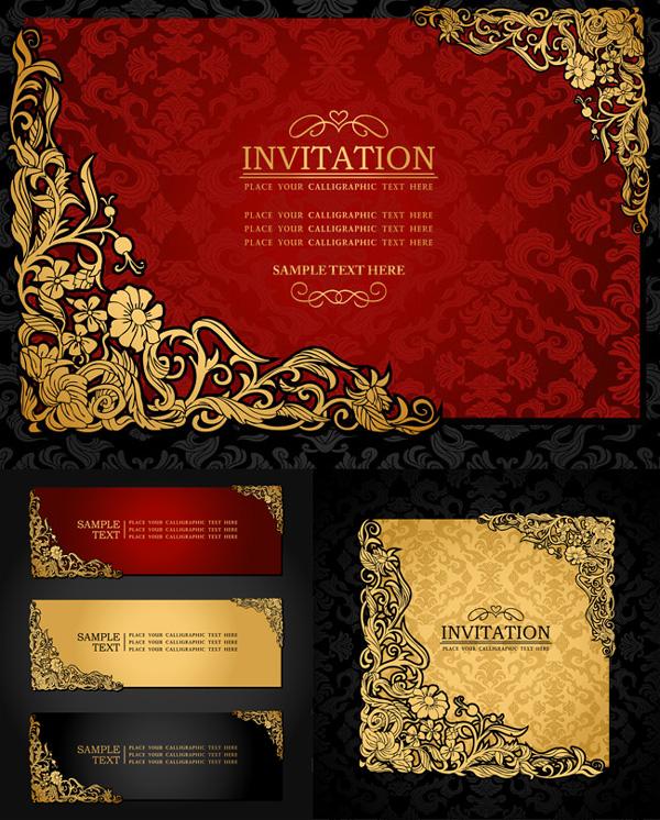 金色花纹邀请卡片矢量素材