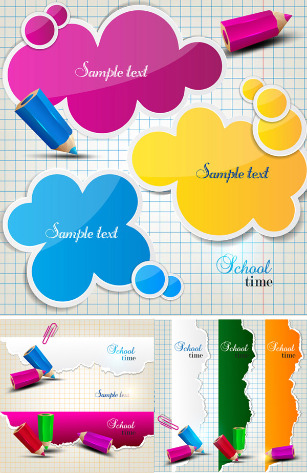 彩色铅笔图对话框矢量素材