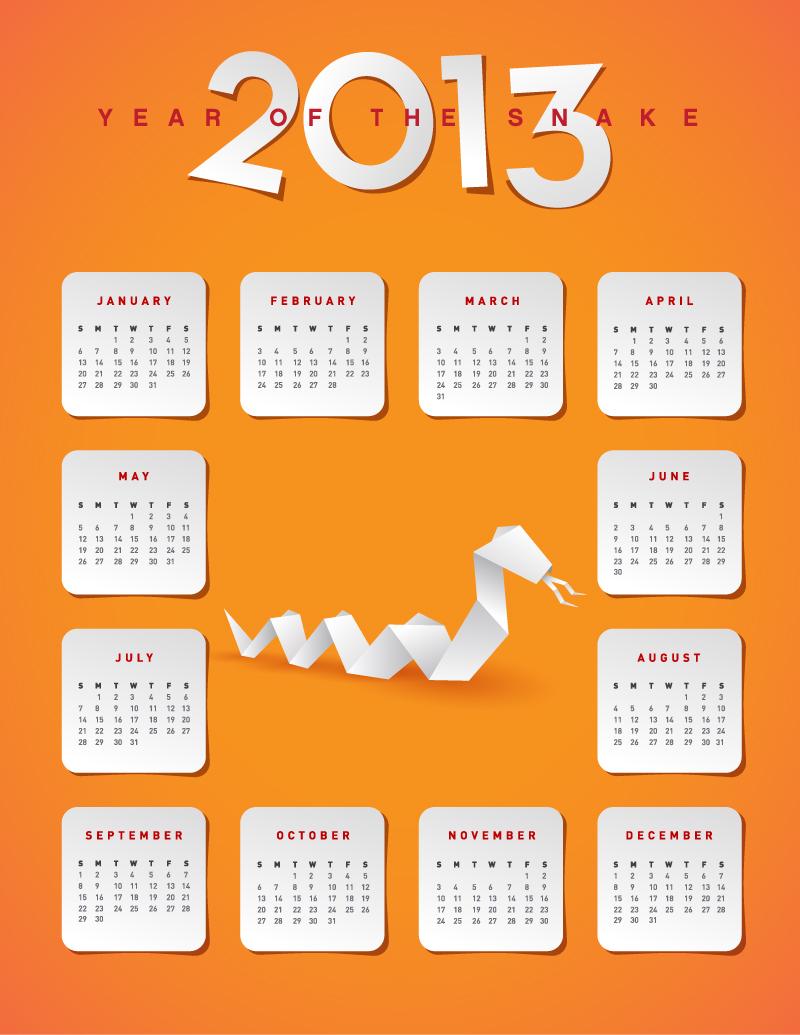 2013蛇年折纸日历矢量素材