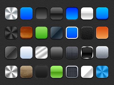 多种肌理色彩圆角矩形PSD素材