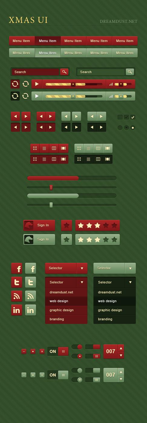 圣诞节色系UI元素PSD素材