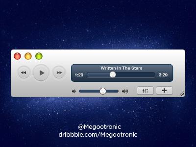 苹果电脑音乐播放器界面PSD素材
