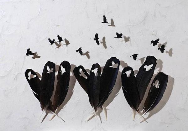 鸟儿羽毛雕刻