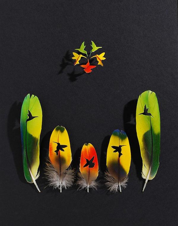 精妙的鸟儿羽毛雕刻