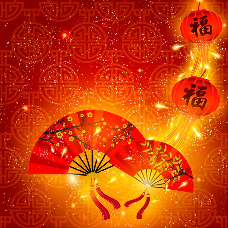 喜庆春节扇子卡片矢量素材