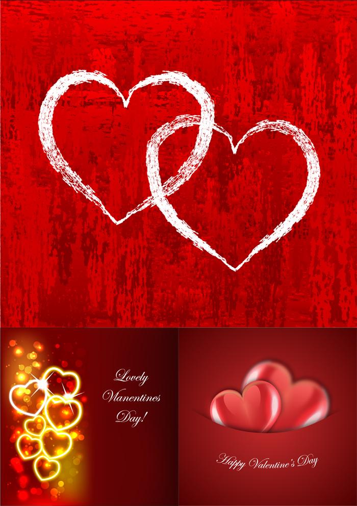 情人节爱心红色背景矢量素材