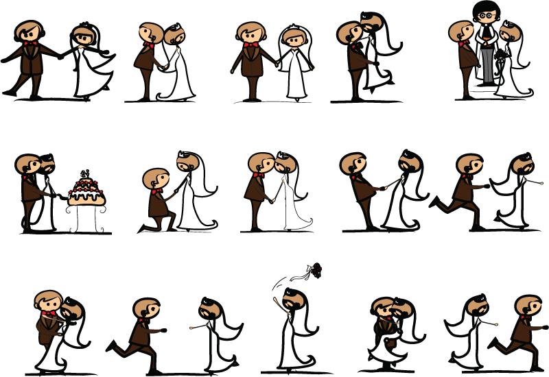 卡通婚礼人物矢量素材