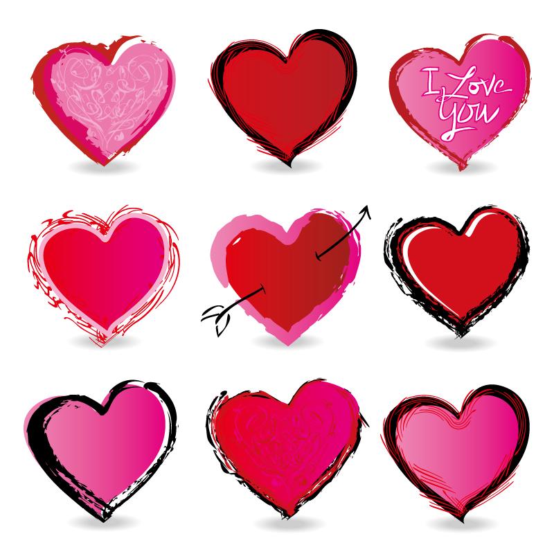 情人节爱心涂鸦图标矢量素材