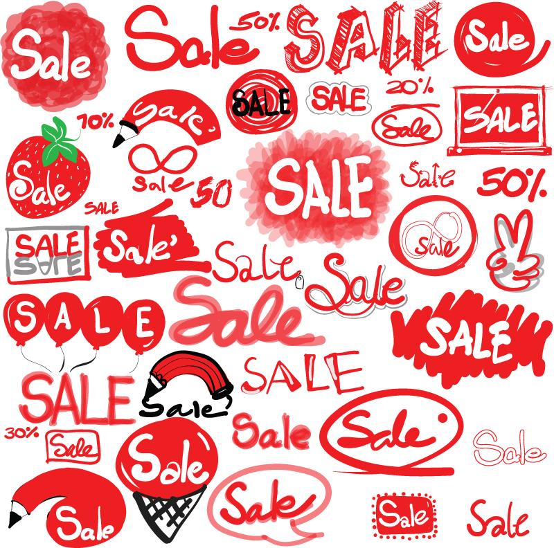 涂鸦销售标签矢量素材