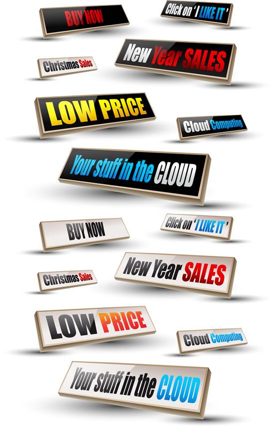 立体英文促销标签矢量素材