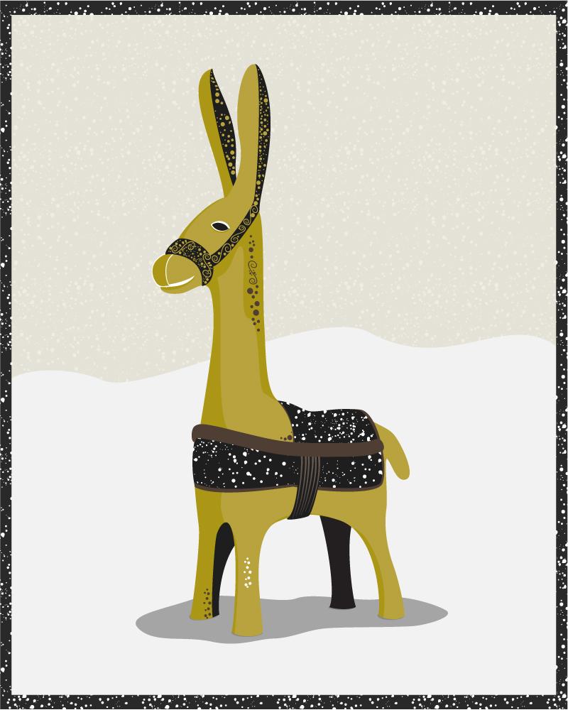 木偶驴插画矢量素材