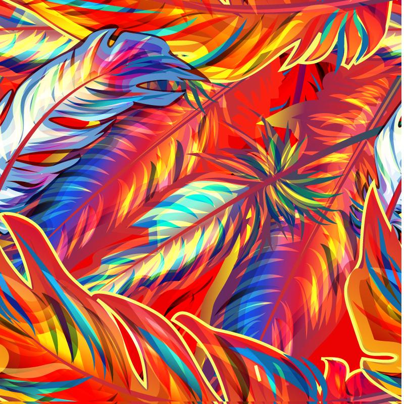 炫彩手绘羽毛矢量素材
