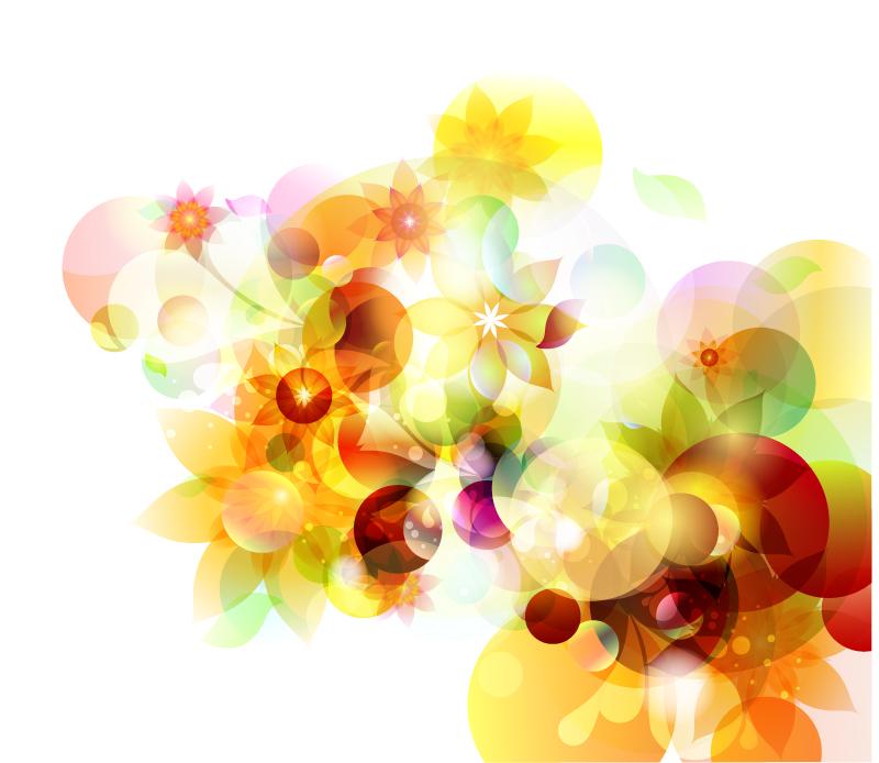 创意幻彩花卉背景矢量素材
