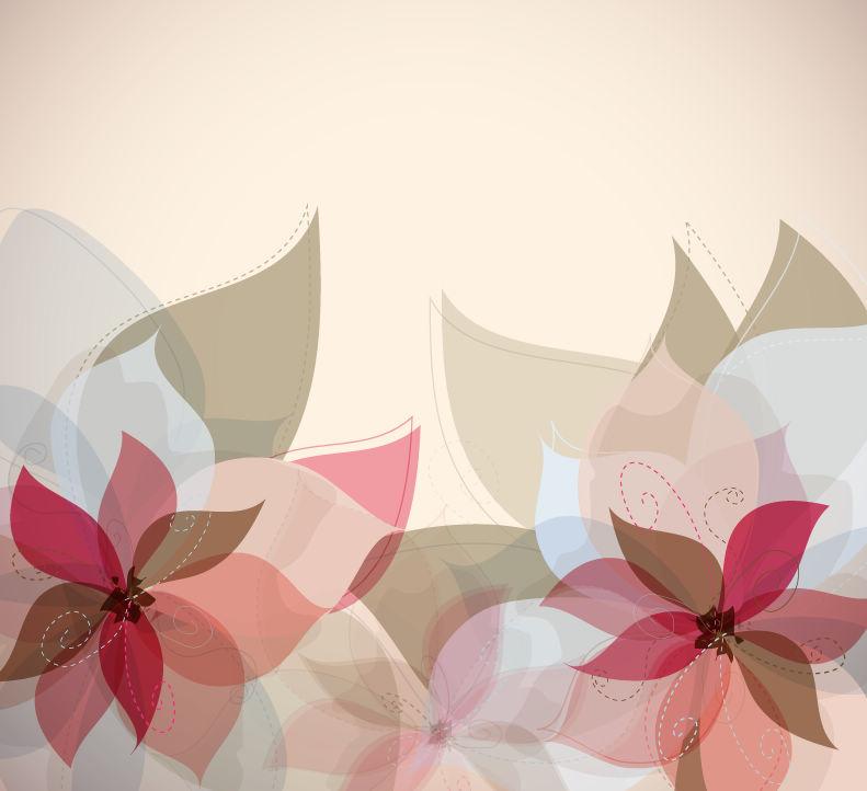 淡雅花卉装饰背景矢量素材