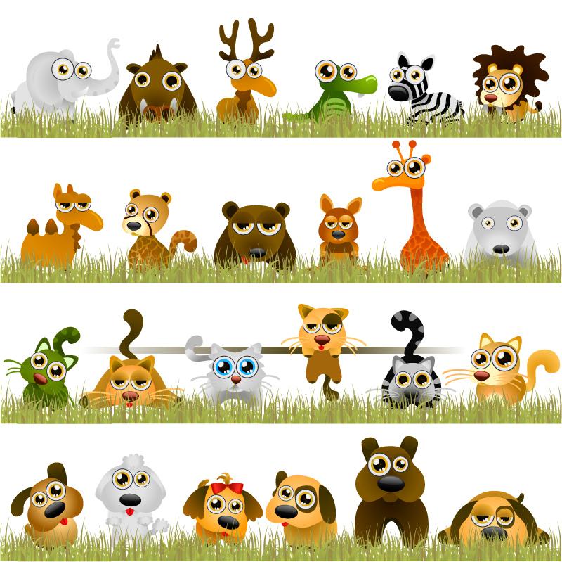 彩绘卡通动物矢量素材