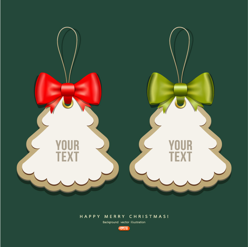 创意圣诞树吊牌矢量素材