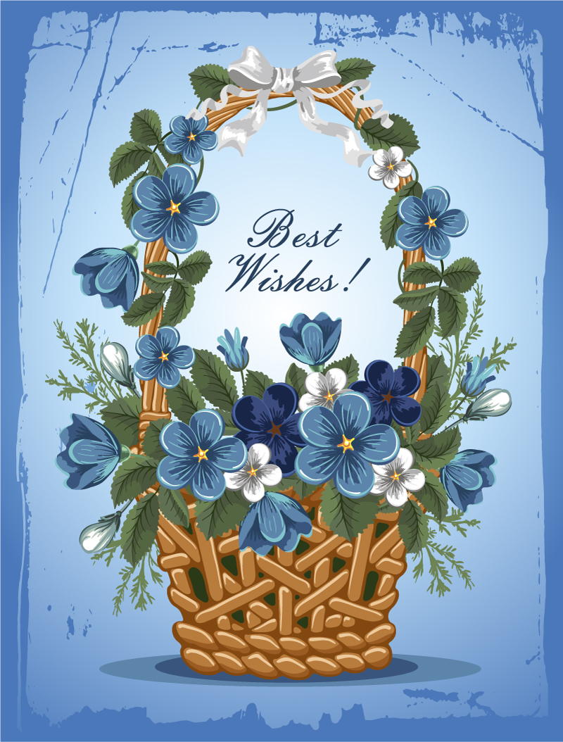 蓝色花卉祝福卡片矢量素材