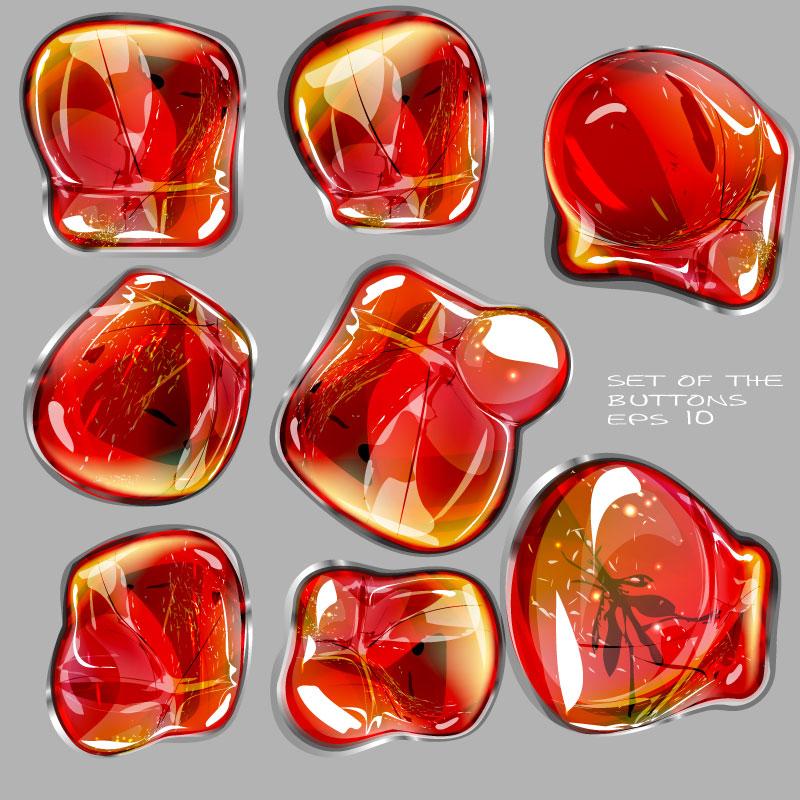 华丽红色琥珀矢量素材