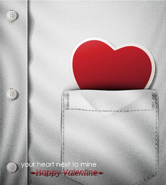 创意衣袋爱心矢量素材