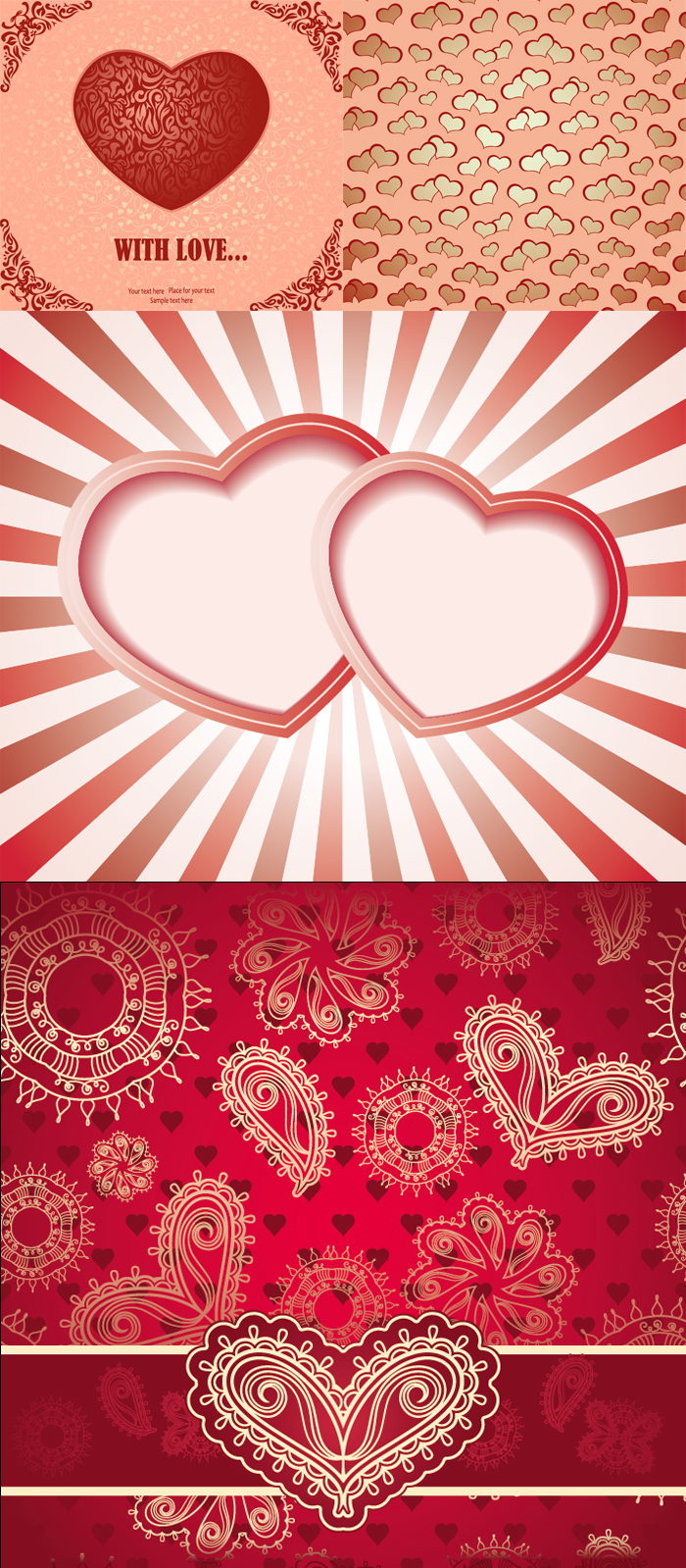 复古爱心卡片背景矢量素材