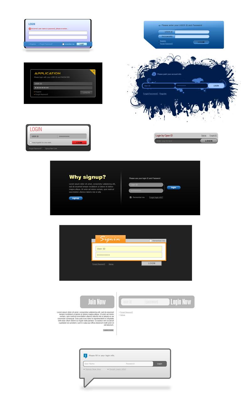 十款个性网页登陆框PSD素材