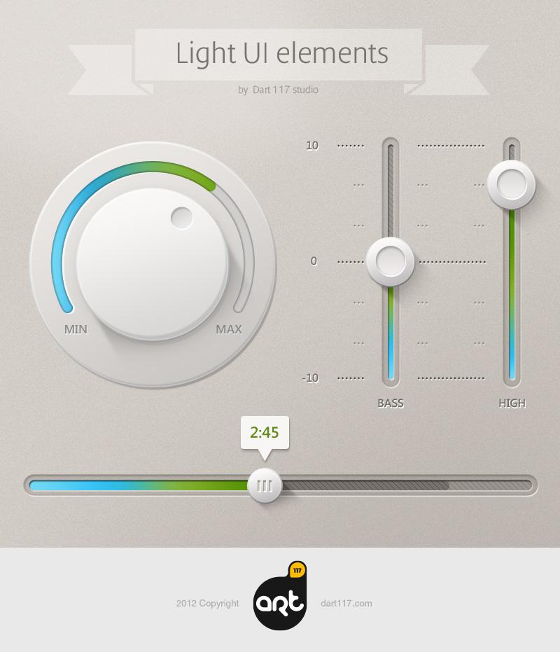 明亮色系UI元素PSD素材