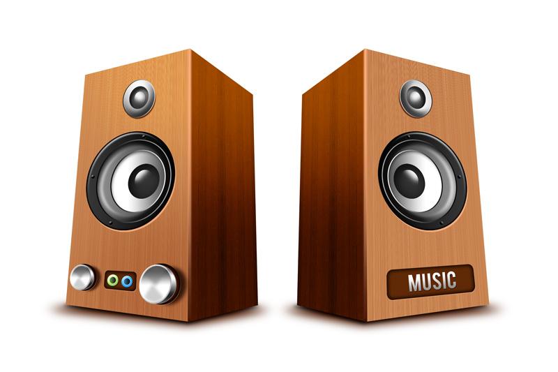 木头的立体音响PSD素材