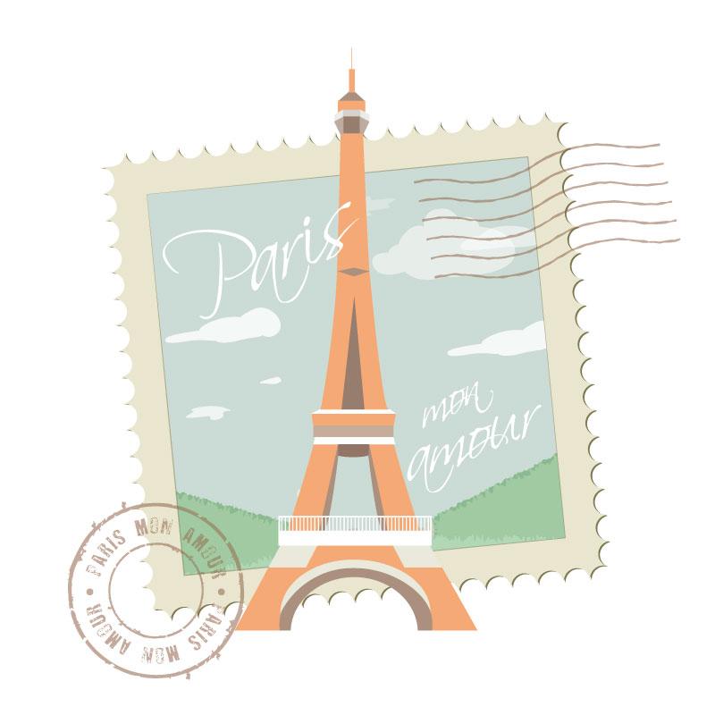 清新巴黎铁塔明信片矢量素材