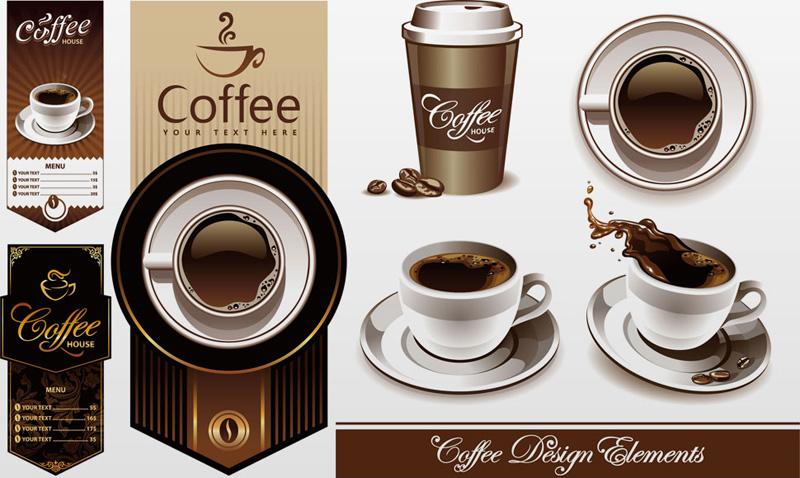 咖啡杯子与菜单设计矢量素材