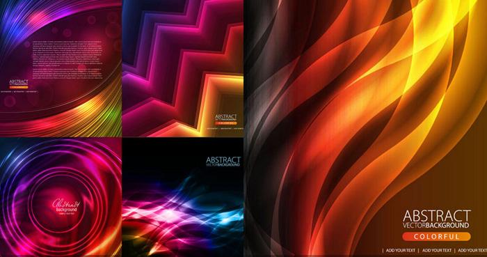 炫彩抽象光效背景矢量素材