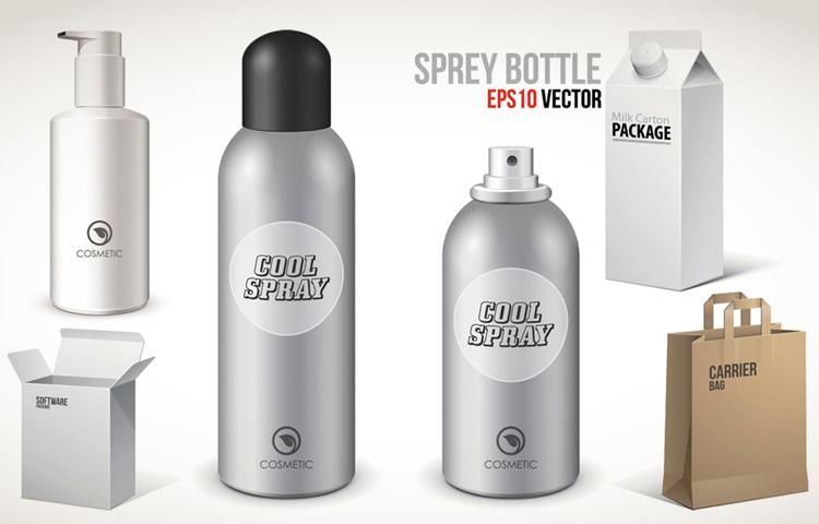 喷雾瓶与纸盒手提袋包装矢量素材