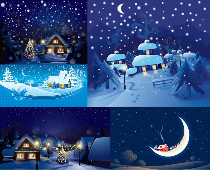 冬季卡通风景矢量素材