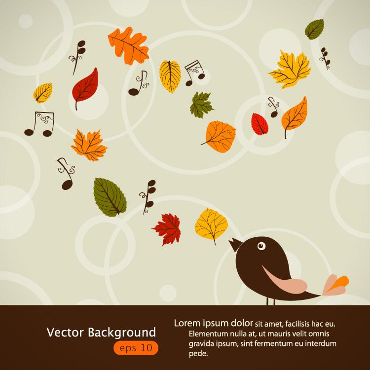 童趣秋叶与小鸟矢量素材